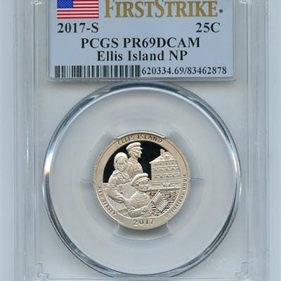 2017 S 25C Clad Ellis Island Quarter PCGS PR69DCAM First Strike coin