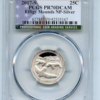 2017 S 25C Silver Effigy Mounds Quarter PCGS PR70DCAM coin