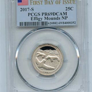 2017 S 25C Clad Effigy Mounds Quarter PCGS PR69DCAM First Day of Issue coin