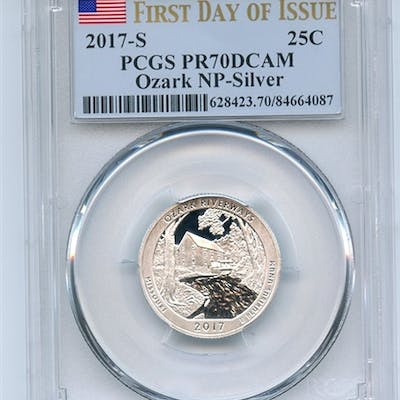 2017 S 25C Silver Ozark Quarter PCGS PR70DCAM First Day of Issue coin