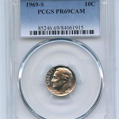 1969 S 10C Roosevelt Dime PCGS PR69CAM coin