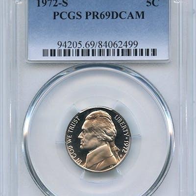 1972 S 5C Jefferson Nickel PCGS PR69DCAM coin