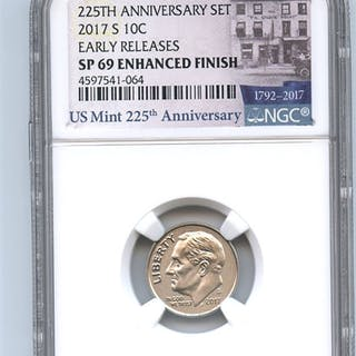 2017 S 10C Roosevelt Dime Enhanced NGC SP69 Early Releases coin