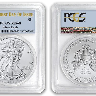 2018 $1 American Silver Eagle Dollar PCGS MS69 First Day of Issue FDOI coin