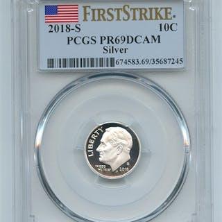 2018 S 10C Silver Roosevelt Dime PCGS PR69DCAM First Strike coin