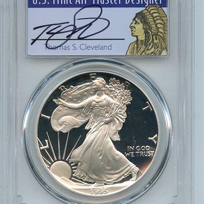 1995 P $1 Proof American Silver Eagle 1oz PCGS PR69DCAM Thomas Cleveland