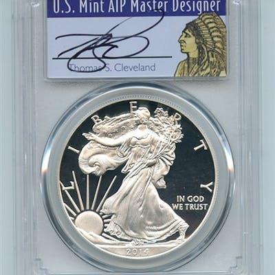 2014 W $1 Proof American Silver Eagle 1oz PCGS PR69DCAM Thomas Cleveland