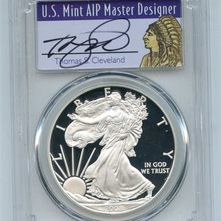 2008 W $1 Proof American Silver Eagle 1oz PCGS PR70DCAM Thomas Cleveland Native