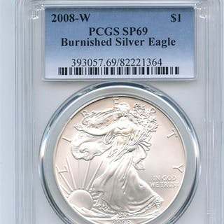 2008 W $1 Uncirculated Burnished Silver Eagle 1oz PCGS SP69 coin