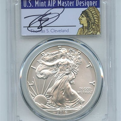 2016 W $1 Unc Burnished Silver Eagle 1oz PCGS SP69 Thomas Cleveland Native coin