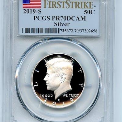 2019 S 50C Silver Kennedy Half Dollar PCGS PR70DCAM First Strike coin