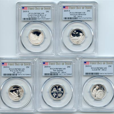 2019 S Silver National Parks Quarter Set PCGS PR70DCAM First Day of