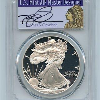 1996 P $1 Proof American Silver Eagle 1oz PCGS PR69DCAM Thomas Cleveland Native