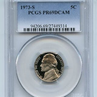 1973 S 5C Jefferson Nickel Proof PCGS PR69DCAM