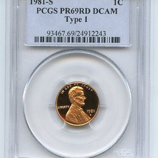 1981 S 1C Lincoln Cent Proof PCGS PR69DCAM