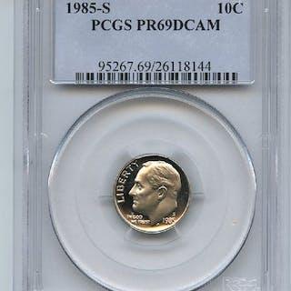1985 S 10C Roosevelt Dime Proof PCGS PR69DCAM