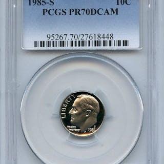 1985 S 10C Roosevelt Dime Proof PCGS PR70DCAM