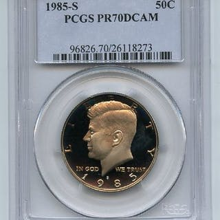1985 S 50C Kennedy Half Dollar Proof PCGS PR70DCAM