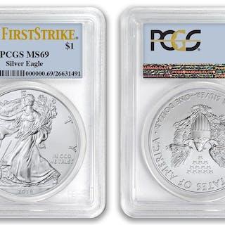 2018 $1 American Silver Eagle Dollar PCGS MS69 First Strike
