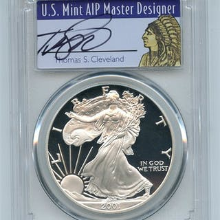 2001 W $1 Proof American Silver Eagle 1oz PCGS PR69DCAM Thomas Cleveland Native