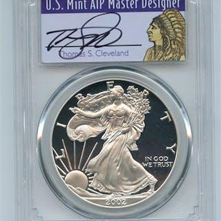 2002 W $1 Proof American Silver Eagle 1oz PCGS PR69DCAM Thomas Cleveland Native