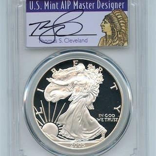 2005 W $1 Proof American Silver Eagle 1oz PCGS PR70DCAM Thomas Cleveland Native