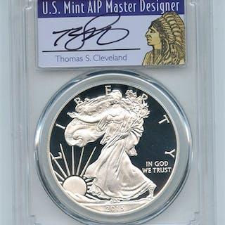 2013 W $1 Proof American Silver Eagle 1oz PCGS PR70DCAM Thomas Cleveland Native