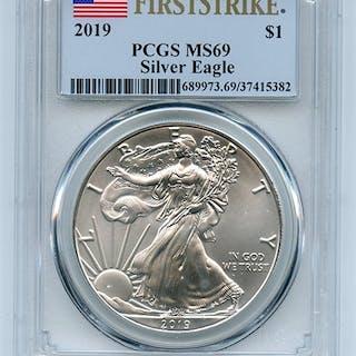 2019 $1 American Silver Eagle Dollar PCGS MS69 First Strike