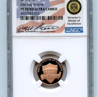 2019 S 1C Lincoln Cent NGC PF70UCAM First Day of Issue FDOI Miles Standish