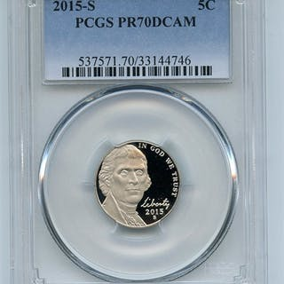 2015 S 5C Jefferson Nickel PCGS PR70DCAM