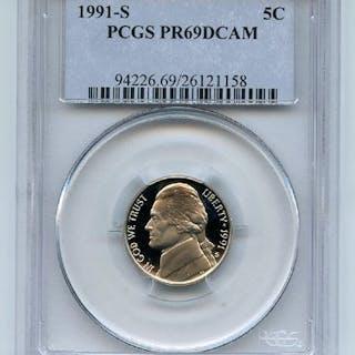 1991 S 5C Jefferson Nickel Proof PCGS PR69DCAM