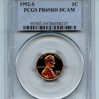 1992 S 1C Lincoln Cent Proof PCGS PR69DCAM