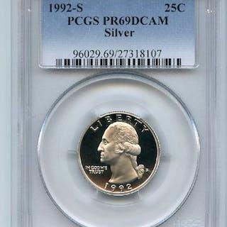 1992 S 25C Silver Washington Quarter Proof PCGS PR69DCAM