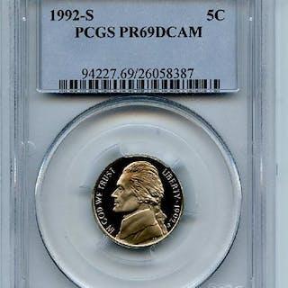 1992 S 5C Jefferson Nickel Proof PCGS PR69DCAM
