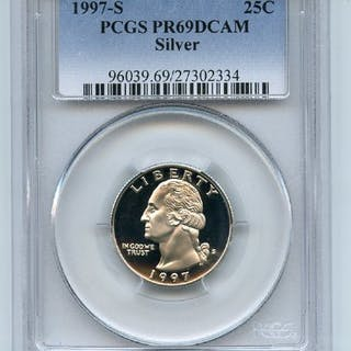 1997 S 25C Silver Washington Quarter Proof PCGS PR69DCAM