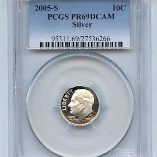 2005 S 10C Silver Roosevelt Dime PCGS PR69DCAM