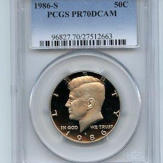 1986 S 50C Kennedy Half Dollar Proof PCGS PR70DCAM