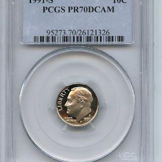 1991 S 10C Roosevelt Dime Proof PCGS PR70DCAM