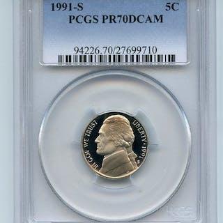 1991 S 5C Jefferson Nickel Proof PCGS PR70DCAM