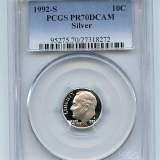 1992 S 10C Silver Roosevelt Dime Proof PCGS PR70DCAM