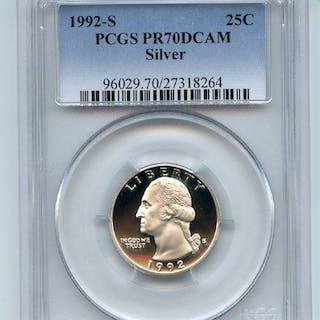 1992 S 25C Silver Washington Quarter Proof PCGS PR70DCAM
