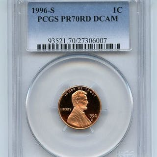 1996 S 1C Lincoln Cent Proof PCGS PR70DCAM