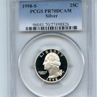 1998 S 25C Silver Washington Quarter Proof PCGS PR70DCAM