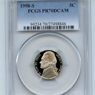 1998 S 5C Jefferson Nickel Proof PCGS PR70DCAM