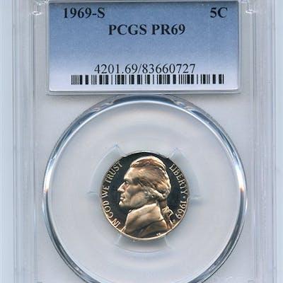 1969 S 5C Jefferson Nickel PCGS PR69 coin