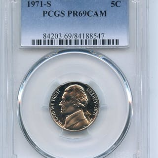 1971 S 5C Jefferson Nickel PCGS PR69CAM coin