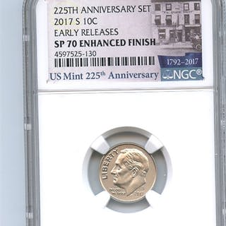 2017 S 10C Roosevelt Dime Enhanced NGC SP70 Early Releases