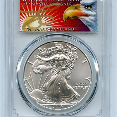 2019 $1 American Silver Eagle 1oz PCGS MS70 FS 1 of 1000 Thomas Cleveland