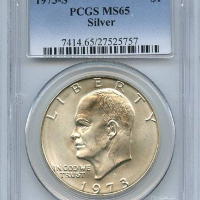 1973 S $1 Silver Ike Eisenhower Dollar PCGS MS65 coin