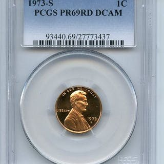 1973 S 1C Lincoln Cent Proof PCGS PR69DCAM coin